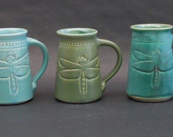Hand Made Mugs,Dragonfly, Arts and Crafts Collection, Ready to Ship