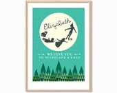 PETER PAN | We Love You From Here To Neverland Poster : Modern Custom Name Nursery Illustration Retro Art Wall Decor Print