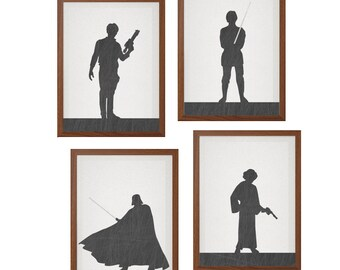 STAR WARS | Set of 4 Character Of Your Choice Poster : Modern Illustration Retro Art Wall Decor Print