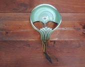 Wall Sconce, Cast Aluminum Art Deco lamp, Green and Silver Aluminum Wall Light, Vintage