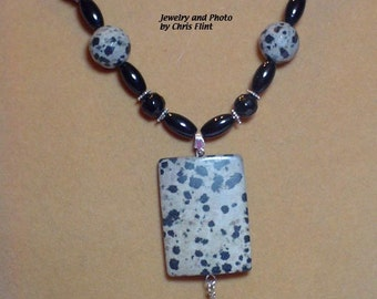 20 inch Natural Dalmation Jasper and black glass beaded necklace. - N189