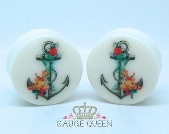"Floral Anchor Plugs /Gauges. 4g /5mm, 2g /6.5mm, 0g /8mm, 00g /10mm, 1/2"" /12.5mm, 9/16"" /14mm, 5/8"" /16mm, 3/4"" /19mm, 7/8"" /22mm, 1"" /25mm"