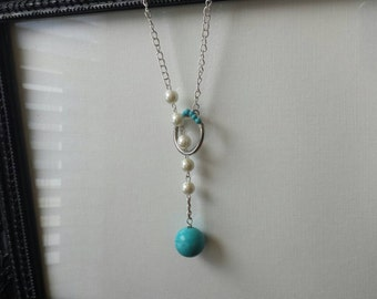Pearl Necklace with Turquoise Bead. Custom Necklace. Personalized Necklace. Bridal Gifts. Bridesmaids gifts. Gift for Her.