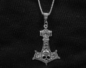 "Thors Hammer Pendant  with a 22"" Silver Plated Chain necklace FREE SHIPPING"