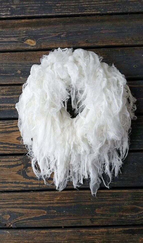 Halloween Wreath, Gossamer White Gauze Wreath