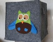 Felt box - owl bin - Childrens Bedroom - Accessory Storage
