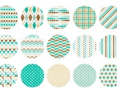Instant Download - Digital Collage Sheet - 1inch circles - 035