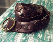 Hippie Woodstock Style Vintage Abercrombie and Fitch Leather Belt with Antique Bronze Hardware