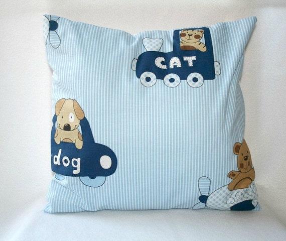 Baby Boy Pillow Cover Boys Nursery Decor Blue Kids Cushion