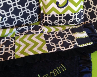 Navy And Green Chevron Custom Crib Bedding