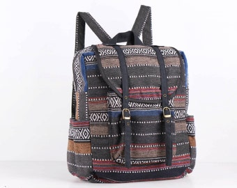 Outdoor Backpack Day Unusual Bag Lightweight Cotton Unique Native Tribe Style