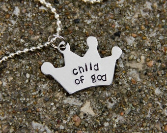 Child of God Stamped Metal Necklace with white pearl