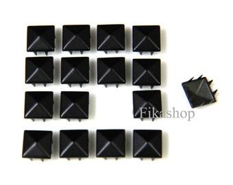 10% Off Clearance SALE: 10mm 50pcs Balck pyramid studs ( 8 legs ) / HIGH Quality - Fikashop