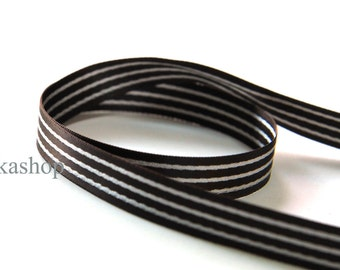 3 yards 5/8 inch 15mm Double Sided White Three Stripe in Chocolate Satin Ribbon (KR0031) - Fikashop