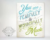 8x10 art print - Fearfully & Wonderfully Made - Blue - Green Playful Typography Nursery/Playroom Poster Print - Psalm Scripture Bible Verse