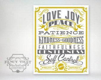 8x10 art print - Fruit of the Spirit - Gold & Grey Typography Poster Print - Galatians Scripture Bible Verse