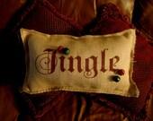 JINGLE BELLS Burlap Christmas Primitive Pillow
