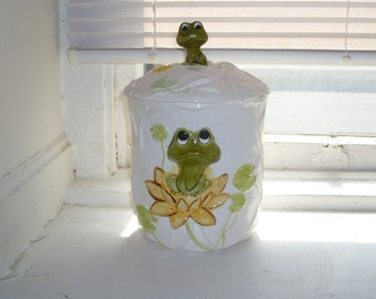 Frog Cookie Jar, Snack Jar, Sears and Roebuck, 1978, Green Frog, Lily Pad Pattern