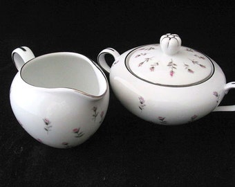 Harmony House Rosebud Creamer and Sugar Bowl with Pink and Gray Roses Vintage 1950s Pair