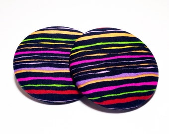 Extra Oversized Blurred Lines Print Button Earrings