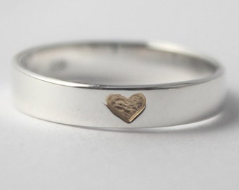 VALENTINES DAY SPECIAL Hidden Heart 925 Sterling silver Ring with tiny gold plated heart w. carved heart inside. Valentines Gift, Engagement