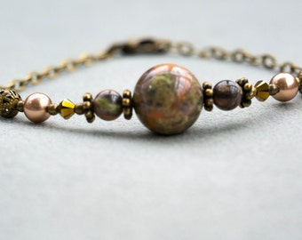 "Handmade Bracelet, ""Majestic Earth"" Collection - Natural Brass, Ocean Jasper, Swarovski Crystal, Swarovski Glass Pearls"