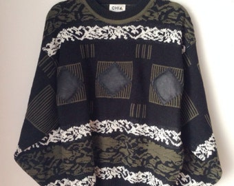 Patterned Sweater With Leather Detail Size Large 1990s