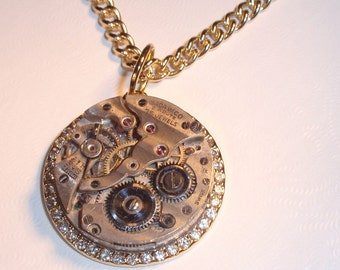 Steampunk Necklace, GORGEOUS GOLD PENDANT Necklace, Exquiste detail, Clear Cubic Zirconia