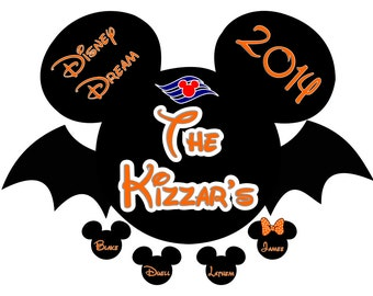 Custom Personalized Halloween Mickey Bat Disney Cruise Line Stateroom Door Magnet