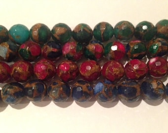 Mosaic agates, 12mm round faceted, 33beads