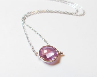 Lavender and Silver Stacking Necklace - BridesMaid Gift - Gemstone Necklace