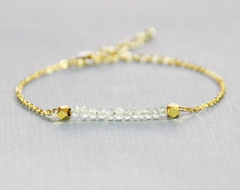 Aquamarine and Gold Bracelet - March Birthstone Bracelet - Aquamarine Bracelet