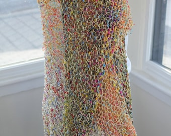 """One of a kind hand knitted """"Rainbow"""" shawl - not machine made"""