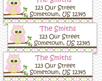 Pink Owl - Personalized Address labels, Stickers, Baby Shower, Birthday