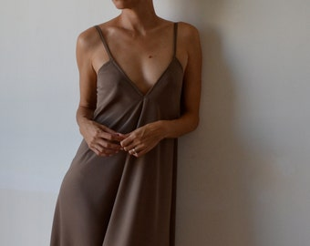 Womens strappy maxidress, boho, low back. Taupe, fawn, beige. Party, cocktail, prom. One size fits many.