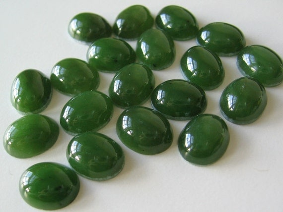 24 Vintage Green Nephrite Jade Oval Cabochon Cab Stones