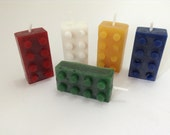 Building Brick Candles. Ideal for Birthday cakes. Set of 5