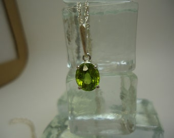 Oval Cut Peridot Necklace in Sterling Silver   #1082