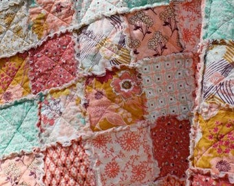 Twin Size Quilt in Summerlove fabric by Pat Bravo, Teal and Pink, MADE TO ORDER