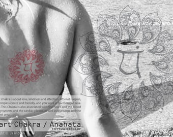 Hand Draw Heart Chakra / Anahata Symbol Mandala Tattoo Sticker