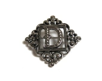Vintage Marcasite Gold Tone Letter D Brooch Pin