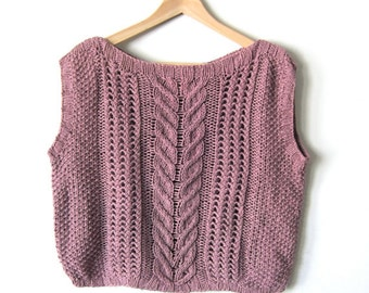 Knit Pink 80's Sweater Crop Top