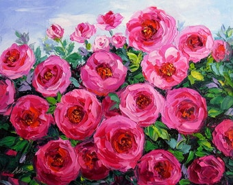 Small Floral Oil Painting Garden Pink Rose Flower Textured Palette Knife Original Art Canvas SFA Ready to Hang