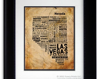 Chtistmas gift for him Rustic Style Wall Art gift for him NEVADA Modern print Unique Typography Birthday gift for him husband housewarming