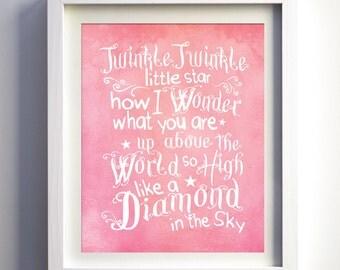 Twinkle Twinkle Little Star Print Baby Girl Nursery Art Baby Nursery Wall Decor Navy Pink White Girls Room Art Children Playroom Wall Prints