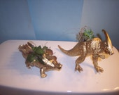 2 Gold Painted Dinosaur Planter Plastic Toy and Planted with  Assorted Succulents
