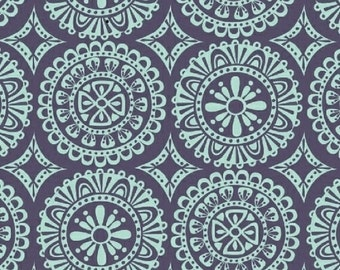 Garden Party Tango Madallion in Aqua/Navy by Iza Pearl Designs for Windham Fabrics by the Yard