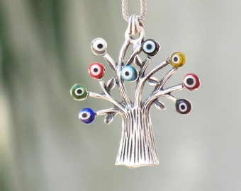 Evil Eye Tree Necklace Luck Charm
