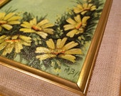 Vintage American Art MCM DAISIES Yellow Daisies and Butterflies painting