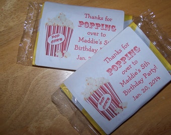 12 Personalized BIRTHDAY Popcorn Favor Labels